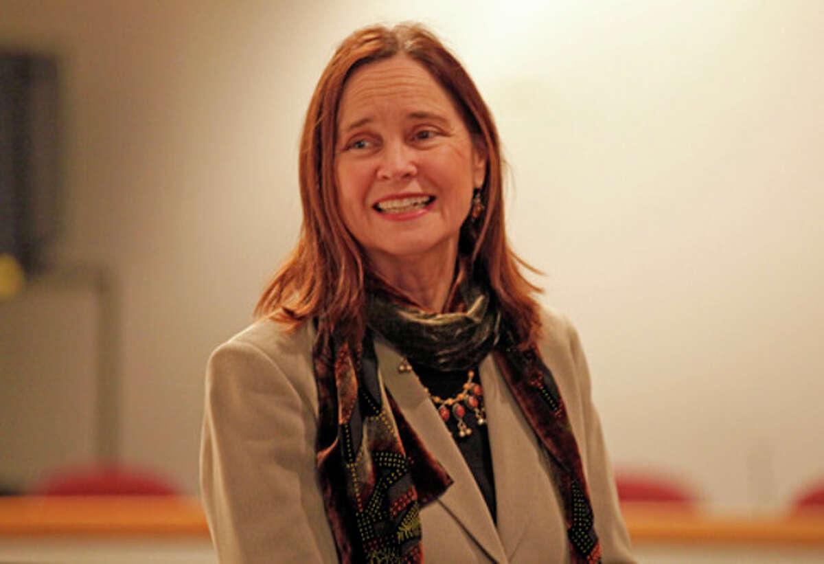 Hour Photo / Danielle Robinson Secretary of the State Denise Merrill speaks in Norwalk Thursday evening.