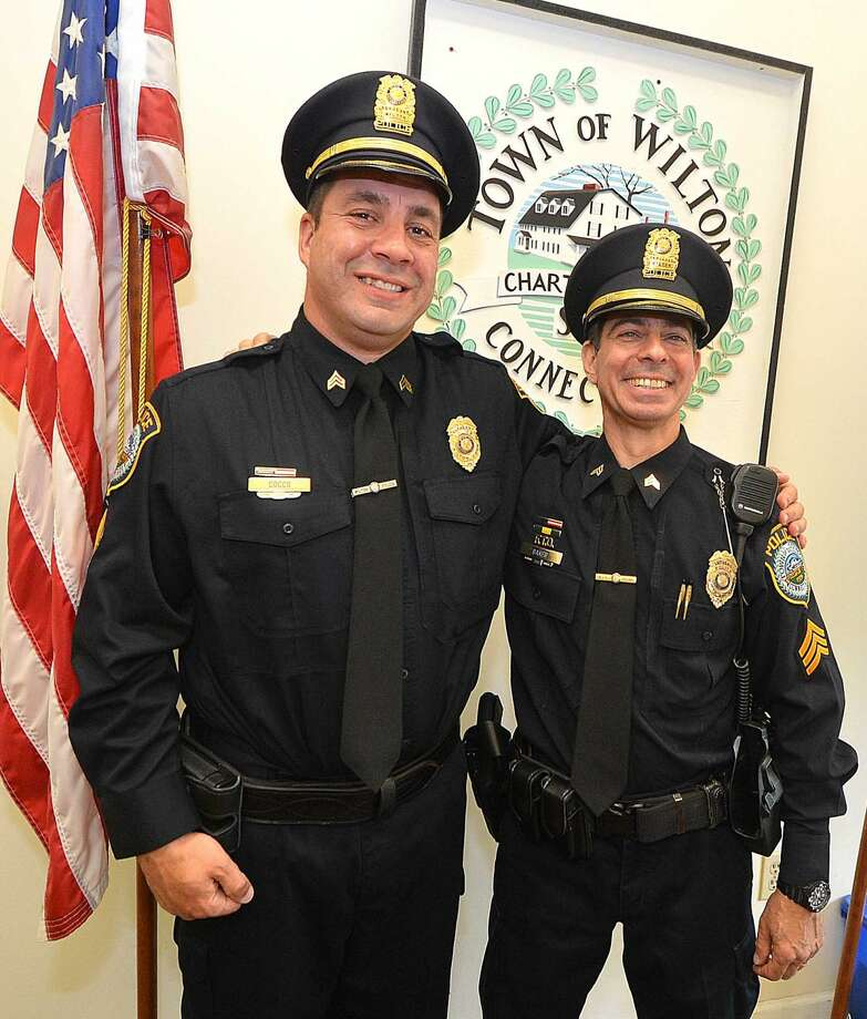 Hour Photo/Alex von Kleydorff Wilton Police Department promote Arnault Baker and Anthony Cocco to Sergeant