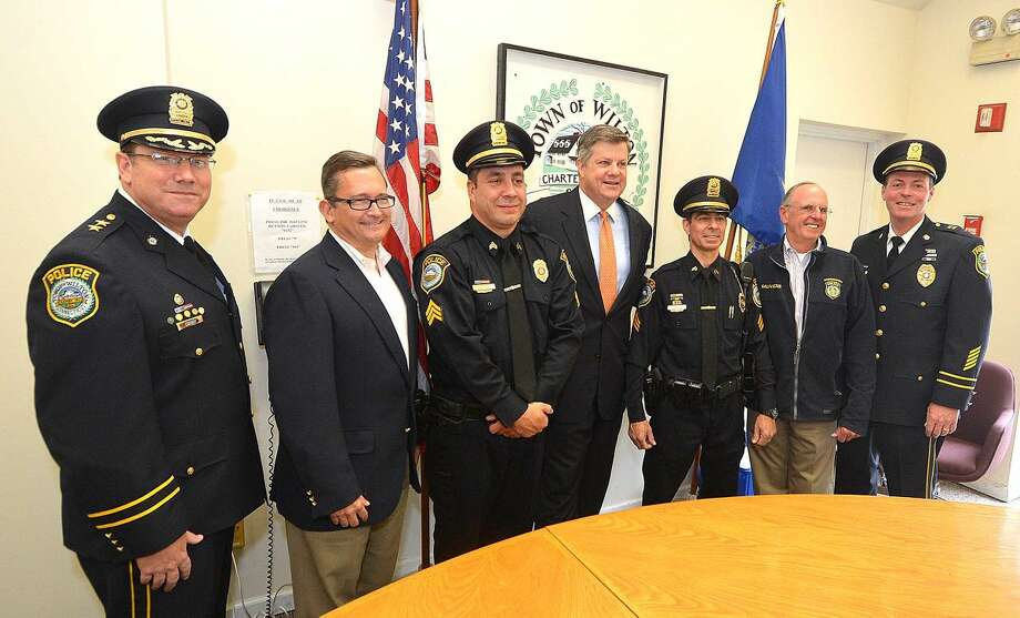 Hour Photo/Alex von Kleydorff Wilton Police Department promote Baker and Cocco to Sergeant