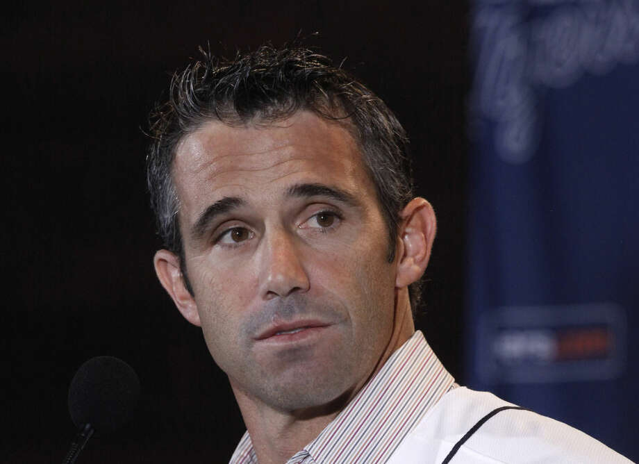 FILE - In this Nov. 3, 2013, file photo, Brad Ausmus is introduced as the new Detroit Tigers manager during a news conference in Detroit. Ausmus, in his second season with Detroit, got the job without having previously managed or coached in the majors or minors. (AP Photo/Paul Sancya, File)