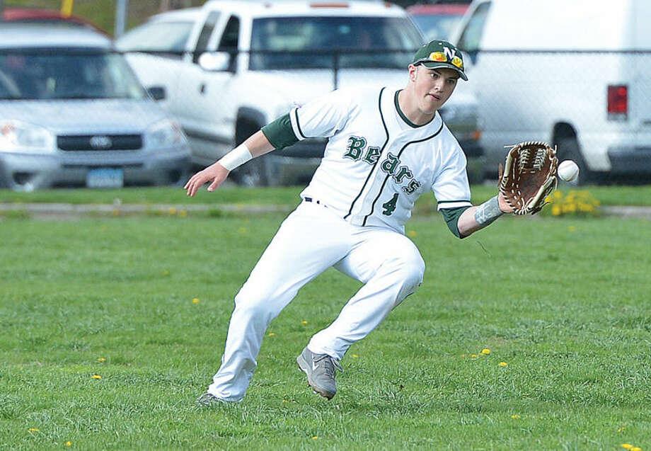 Hour Photo/Alex von Kleydorff Norwalks #4 Jared Smith in left field