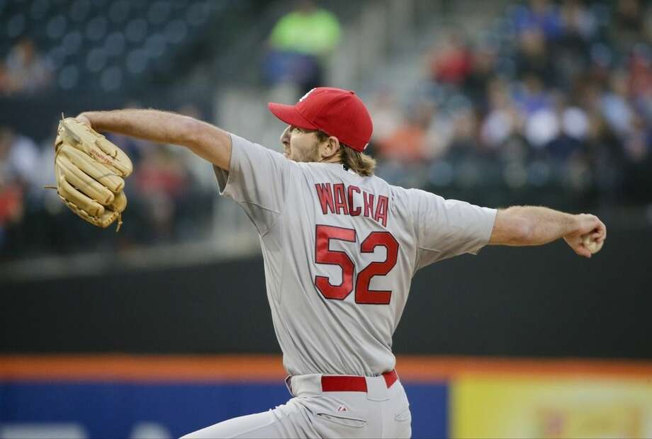 St. Louis Cardinals' Michael Wacha delivers a pitch during the first inning of a baseball game against the New York Mets on Tuesday, May 19, 2015, in New York. (AP Photo/Frank Franklin II)