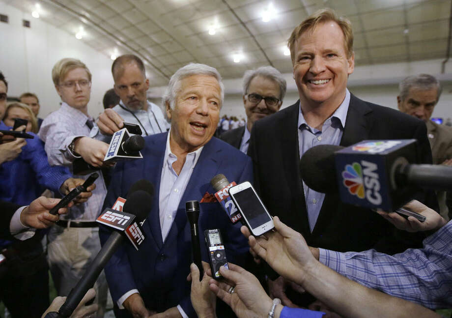 "FILE - In this May 29, 2014, file photo, NFL Commissioner Roger Goodell, right, and New England Patriots owner Robert Kraft address members of the media during a football safety clinic for mothers at the team's facilities in Foxborough, Mass. Kraft and Goodell have worked closely in bringing about the league's impressive growth. That alliance was strained with the league's punishment of Tom Brady and his team in the ""Deflategate"" scandal. (AP Photo/Stephan Savoia, File)"