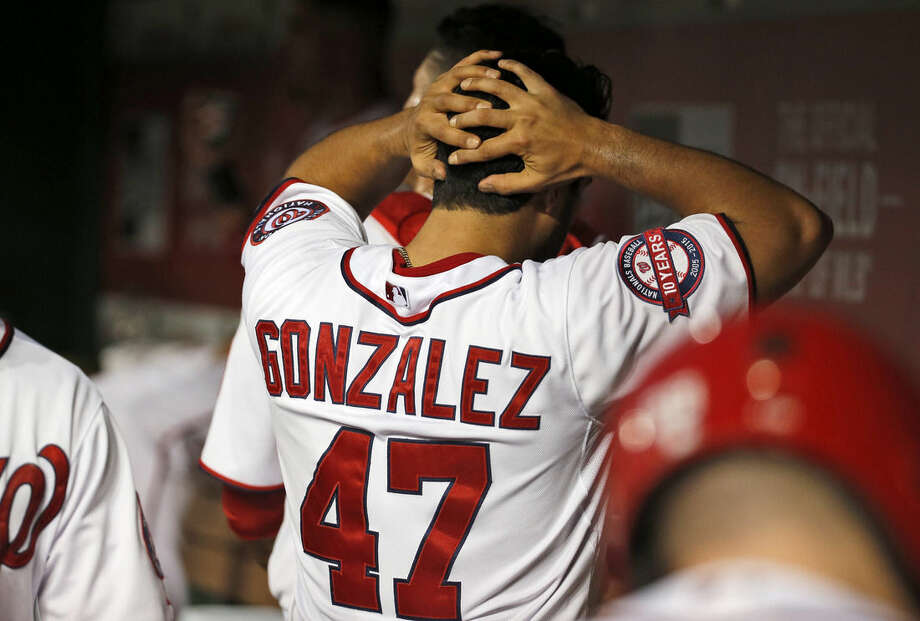 Washington Nationals starting pitcher Gio Gonzalez (47) reacts in the dugout after pitching the fifth inning of an interleague baseball game against the New York Yankees at Nationals Park, Tuesday, May 19, 2015, in Washington. (AP Photo/Alex Brandon)