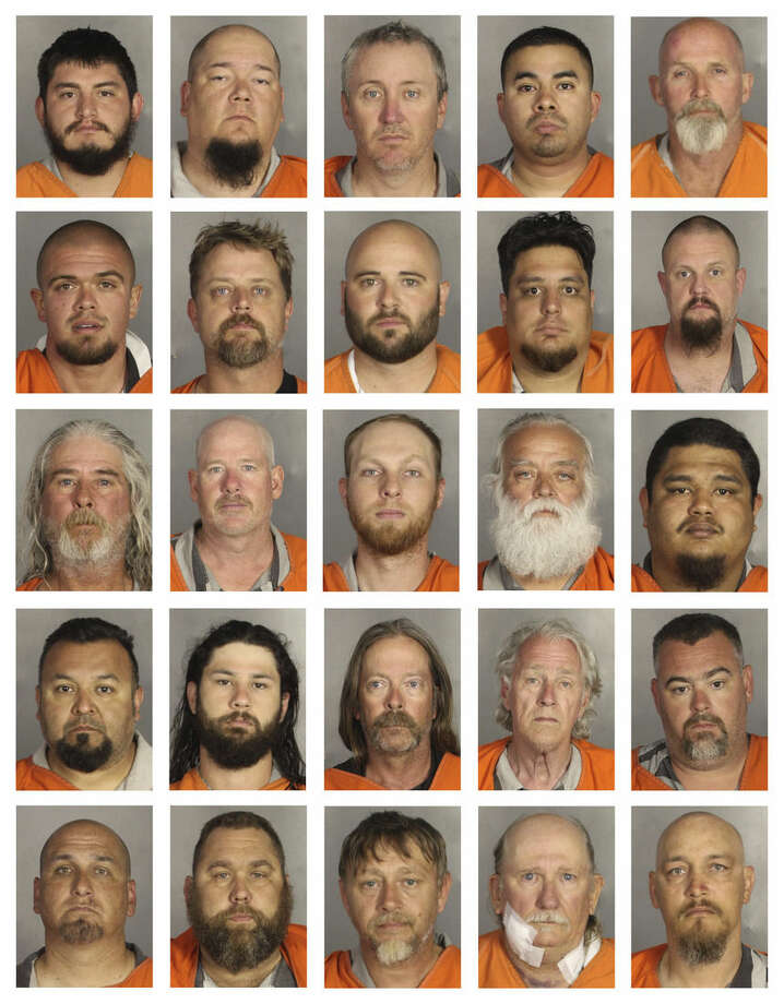This combination of booking photos provided by the McLennan County Sheriff's office shows people arrested during the motorcycle gang related shooting at the Twin Peaks restaurant in Waco, Texas, Sunday, May 17, 2015. Top row from left to right; Jorge Salinas, Bobby Samford, Phillip Sampson, Andrew Sandoval and Timothy Satterwhite. Second row from left to right; Trey Short, Phillip Smith, Seth Smith, Seth Smith and Christopher Stainton. Third row from left to right; James Stallings, Andrew Stroer, Bradley Terwilliger, Michael Thomas and Christian Valencia. Fourth row from left to right; Jose Valle, Royce Vanvleck, James Venable, John Vensel and Justin Waddington. Fifth row from left to right; Daryle Walker, Glenn Walker, Steven Walker, Ronald Warren and Reginald Weathers. (McLennan County Sheriff's Office via AP)