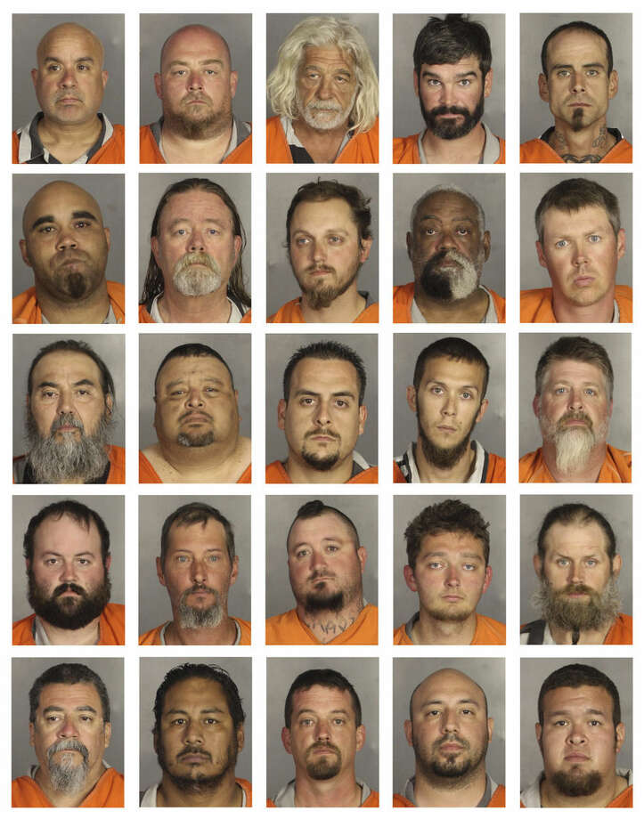 This combination of booking photos provided by the McLennan County Sheriff's office shows people arrested during the motorcycle gang related shooting at the Twin Peaks restaurant in Waco, Texas, Sunday, May 17, 2015. Top row from left to right: Edward Keller, Lawrence Kemp, Michael Kenes, Drew King and Jeremy King. Second row from left to right: Richard Kreder, Thomas Landers, Jarrod Lehman, Martin Lewis and Brian Logan. Third row from left to right: Narciso Luna, David Martinez, John Martinez, Josh Martin and Terry Martin. Fourth row from left to right: Benjamin Matcek, Joseph Matthews, Wesley McAlister, Dustin McCann and Billy McRee. Fifth row from left to right: Rudy Mercado, Juventino Montellano, Michael Moore, Jason Moreno and John Moya. (McLennan County Sheriff's Office via AP)
