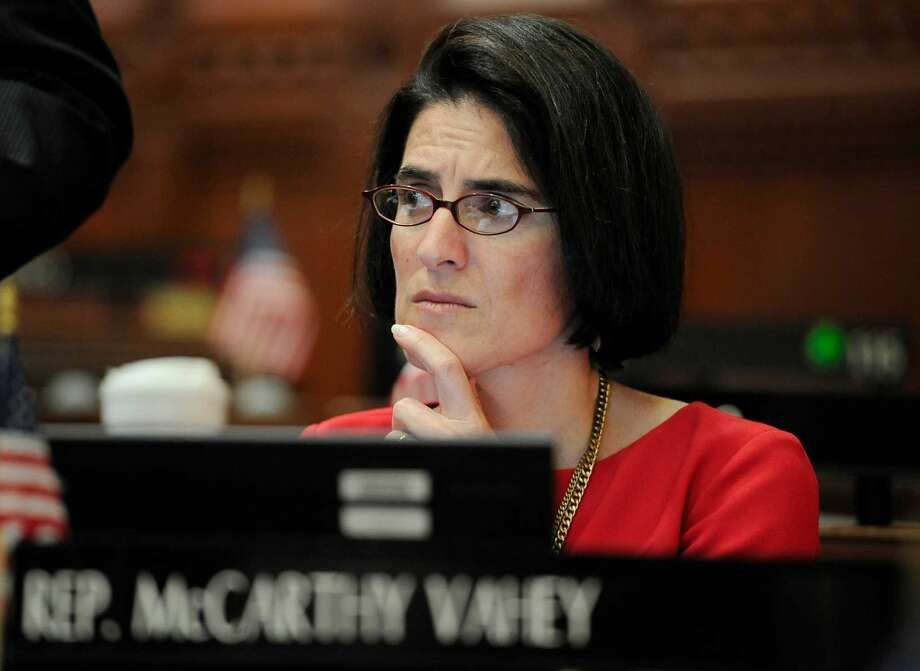 First-term State Rep. Cristin McCarthy Vahey, D-Fairfield, was the last lawmaker to cast a ballot in the state budget vote on Friday night. She was one of eight Democrats to vote against the plan, which passed 74-70.