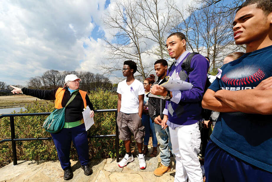 Hour photo / Erik Trautmann Land Trust volunteer Rita Phillips guide 80 Norwalk High School chemistry students as they tour the Shoendorf, Farm Creek preserve estuary performign enviromental testing Friday morning.
