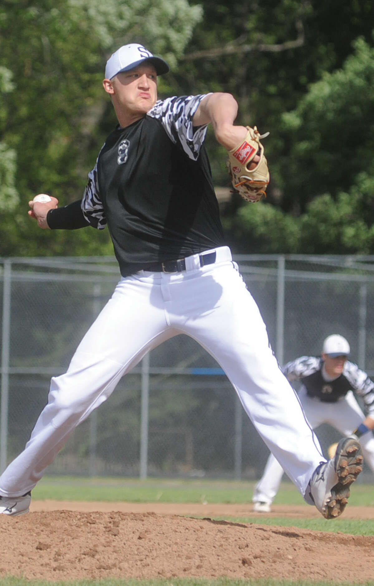 Staples pitcher Ryan Fitton fired a one-hit 9-0 shutout over Norwalk in FCIACbaseball action at Malmquist Field on Wednesday afternoon. (Hour photo/Matthew Vinci)
