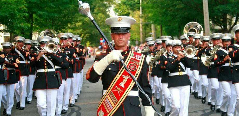 Courtesy of Cpl. Sarah Fiocco/Parris Island Marine Band Facebook PageGunnery Sgt. David Wilson, drum major with the Parris Island Marine Band, leads the band in formation during the Rogues' Hollow Festival parade in Doylestown, Ohio Aug. 5, 2011. The band is scheduled to march in Norwalk's Memorial Day parade on Monday.