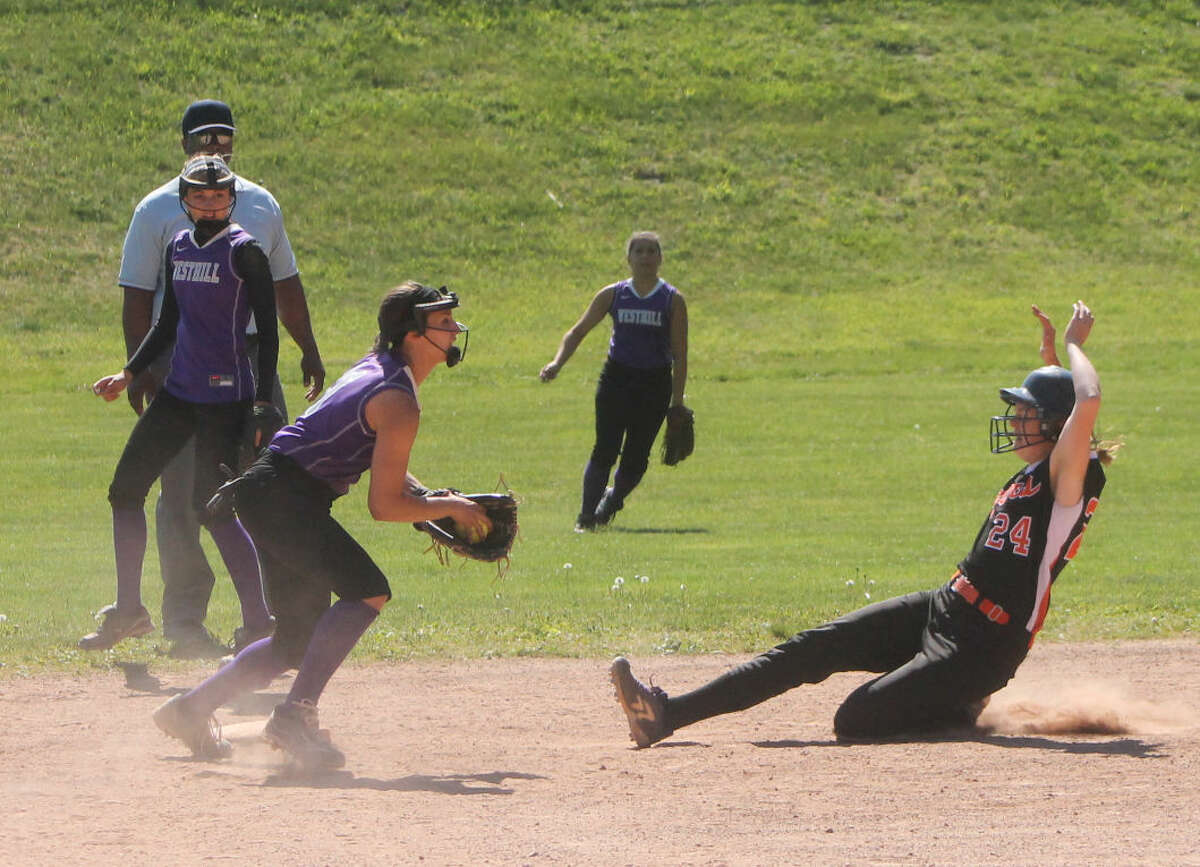 Westhill's Gabby Laccona catches the ball at second base for a force out. (Stamford Times/Joe Ryan)