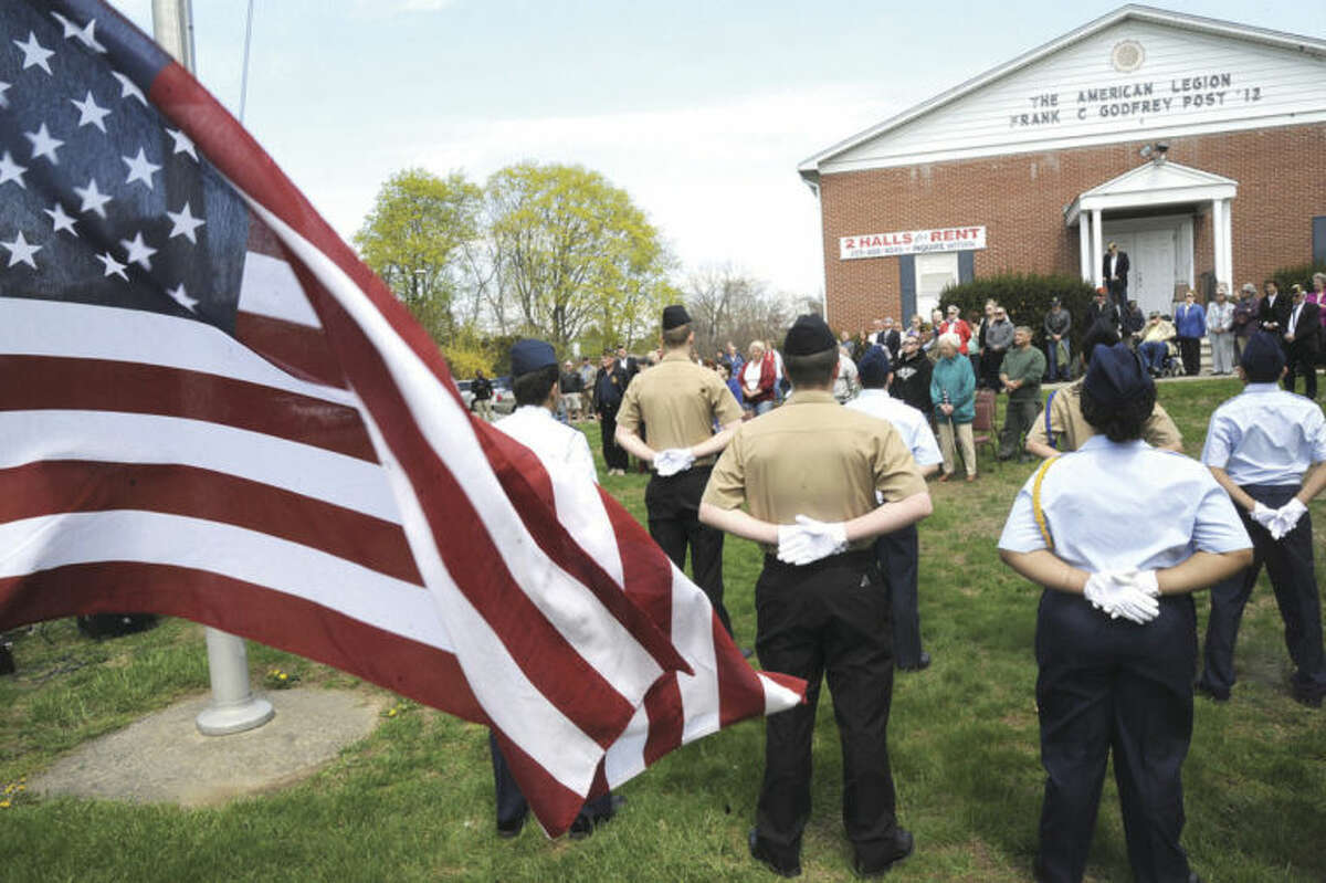 Hour photo/Matthew Vinci The Veteran of the Month ceremony at the American Legion in Norwalk Sunday was held for the late Col. Frank E. Wismer III.