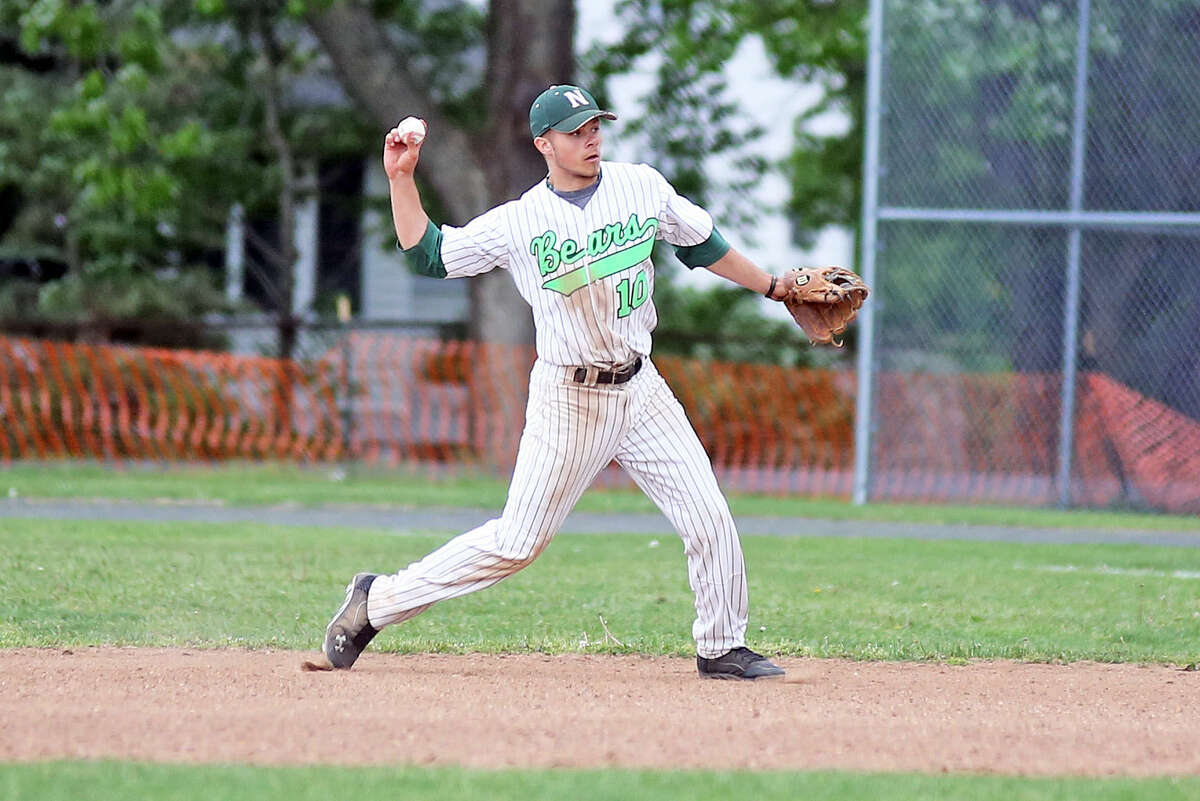 Norwalk's Second Baseman #10, Dave Balunek, makes a play during a home game against Darien at City Hall Friday afternoon. Hour Photo / Danielle Calloway