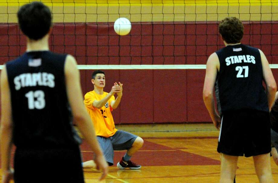 Boys volleyball action between Staples and St. Joseph in Trumbull, Conn. on Friday May 13, 2016.