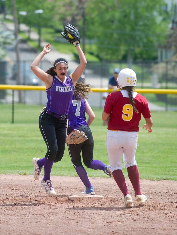 Westhill's Gabby Laccona makes a catch for an out during the game against St. Joseph High School in Stamford, Conn., on Saturday, May 14, 2016.