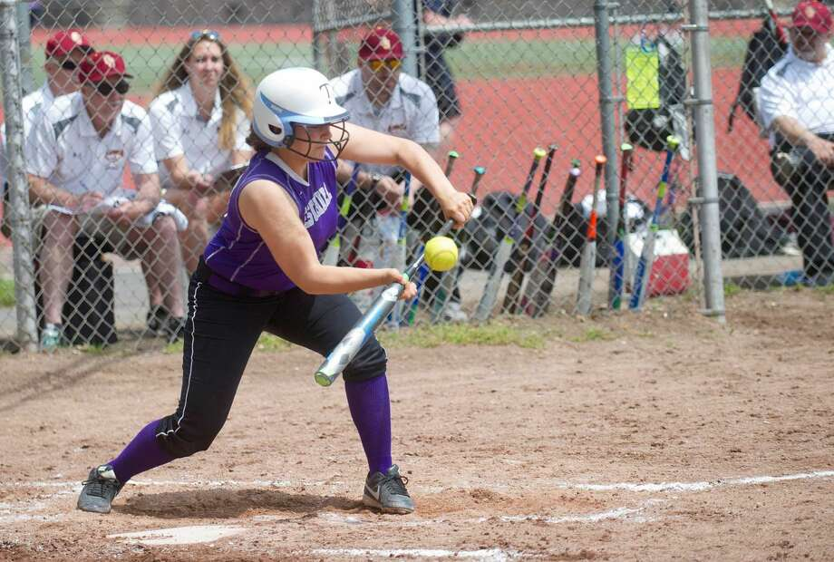 Westhill's Jordan Benzaken bunts during the game against St. Joseph High School in Stamford, Conn., on Saturday, May 14, 2016.