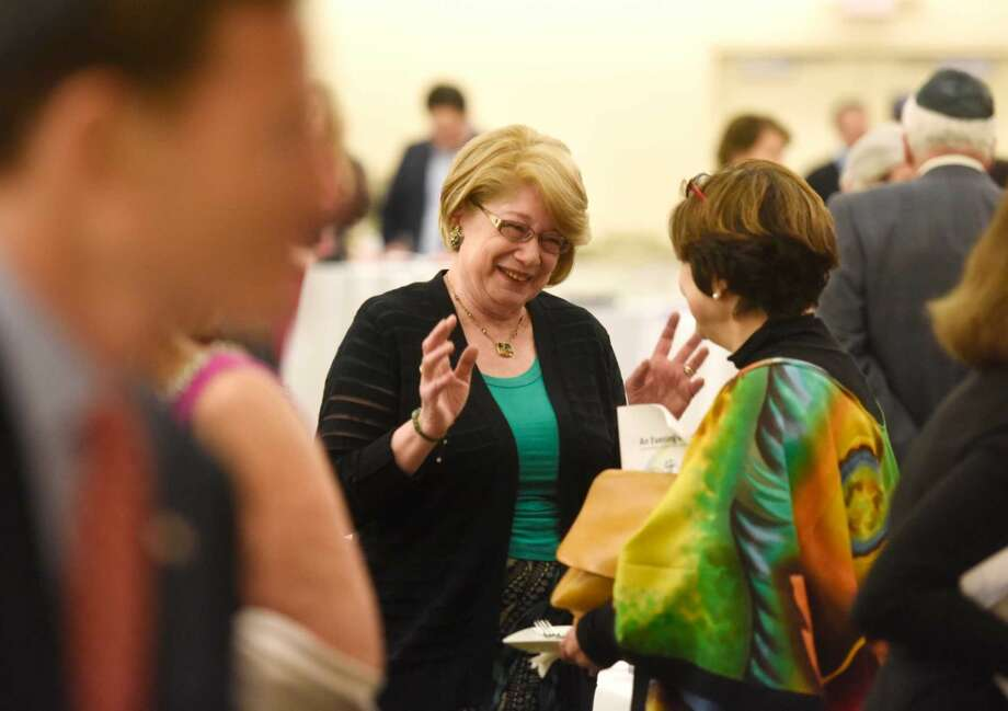 "Stamford resident Sandy Speter chats during the Jewish Family Service's event ""An Evening with JFS"" at Temple Beth El in Stamford, Conn. Sunday, May 15, 2016. She was one of recipients of the 37th annual Mitzvah Awards, presented at Sunday night's JFS program. Speter has been an active member of Hadassah for more than 30 years and is currently the Vice President of fundraising for the Connecticut region of Hadassah. Speter was on the Board of Trustees of Bi-Cultural Day School for 10 years and worked its auction for 18 years, also serving on the Board of Directors of Westchester Hebrew High School for two years."