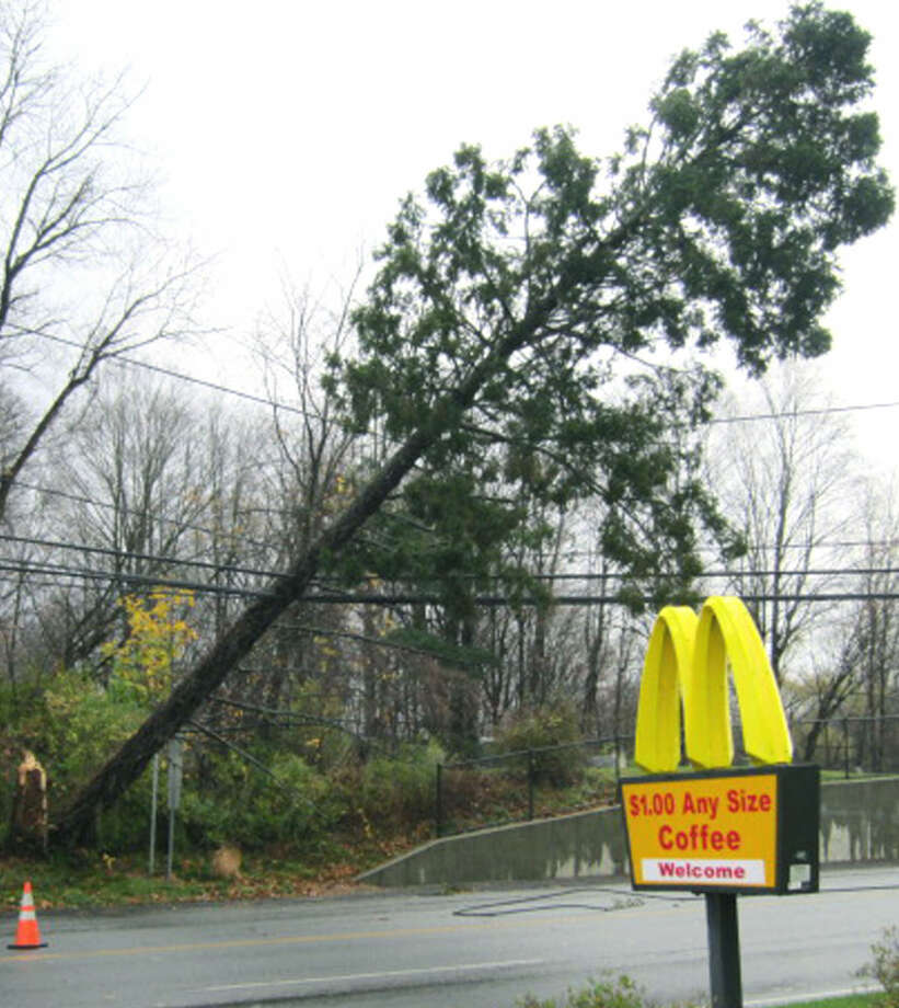 Even McDonald's was affected by Hurricane Sandy in late October when a fallen tree on live wires across Danbury Road (Route 7 South) in New Milford forced closure of the town's major traffic artery from Sunny Valley Road to Pickett District Road.