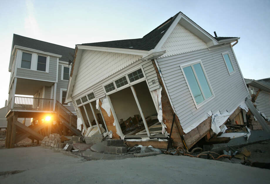 One of the waterfront houses destroyed by Hurricane Sandy in Milford on Monday, November 26, 2012.