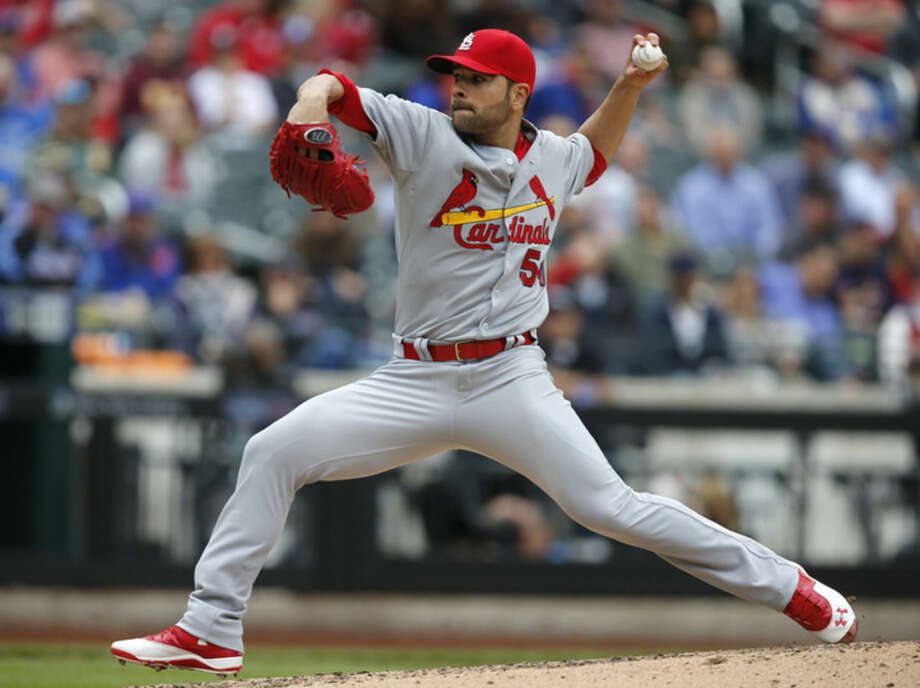 St. Louis Cardinals starting pitcher Jaime Garcia (54) delivers in the fourth inning of a baseball game against the New York Mets in New York, Thursday, May 21, 2015. (AP Photo/Kathy Willens)