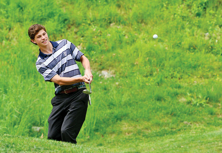 Hour photo / Erik Trautmann High School golfers including Wilton's Kyle Jonas compete in the annual Chappa Golf Tournament at Longshore Club Park in Westport Thursday