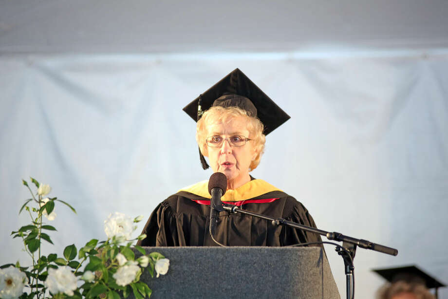 Interim Dean of Students, Carol Smith Hawker, presents the class speakers during Norwalk Community College's 53rd Annual Commencement Exercises Thursday afternoon. Hour Photo / Danielle Calloway