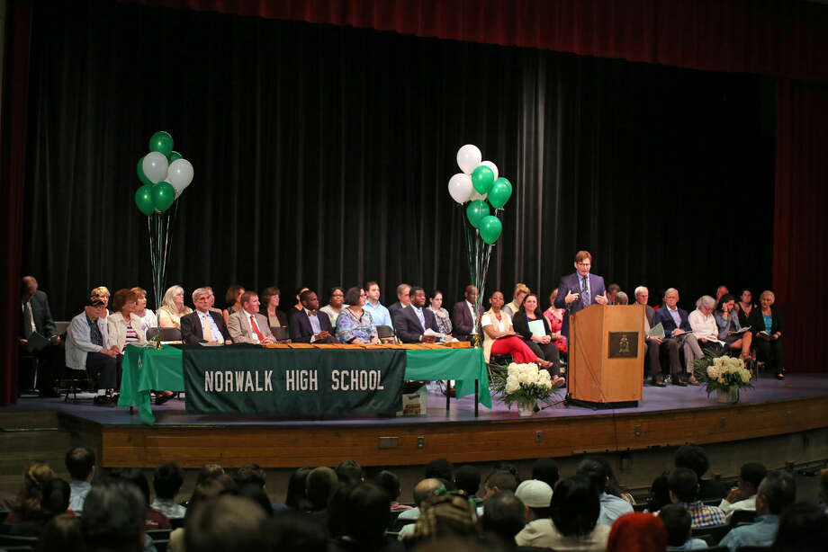 Dr. Daniel Sullivan, Guidance Chairperson, gives the introduction during Norwalk High School's Awards Program Thursday evening. Hour Photo / Danielle Calloway