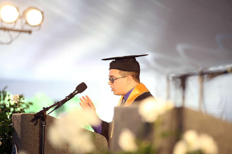 Joshua Kleinwaks speaks during Norwalk Community College's 53rd Annual Commencement Exercises Thursday afternoon. Hour Photo / Danielle Calloway