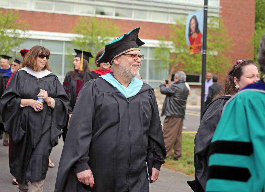 Professor Steven Cohen enters Norwalk Community College's 53rd Annual Commencement Exercises Thursday afternoon. Hour Photo / Danielle Calloway