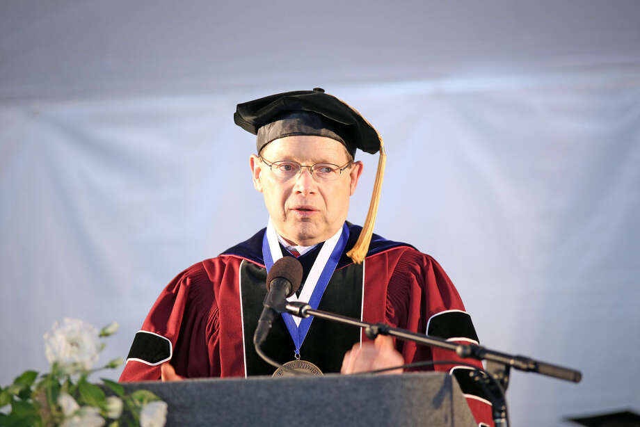 President David L. Levinson speaks during Norwalk Community College's 53rd Annual Commencement Exercises Thursday afternoon. Hour Photo / Danielle Calloway