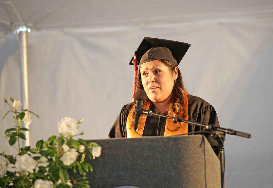 Vicky Yanez speaks during Norwalk Community College's 53rd Annual Commencement Exercises Thursday afternoon. Hour Photo / Danielle Calloway