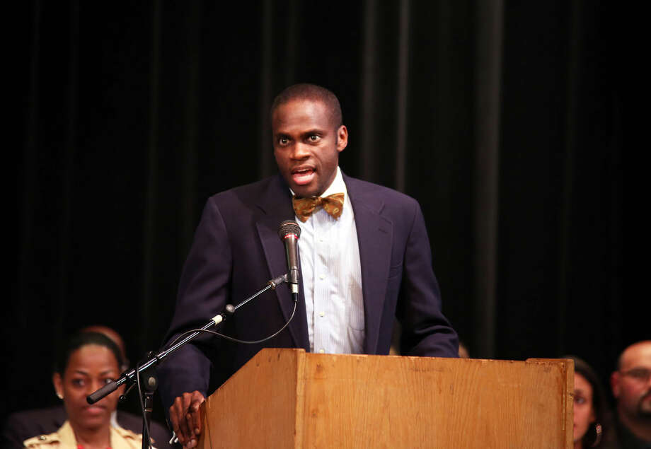 Principal Reginald Roberts gives the opening remarks during Norwalk High School's Awards Program Thursday evening. Hour Photo / Danielle Calloway