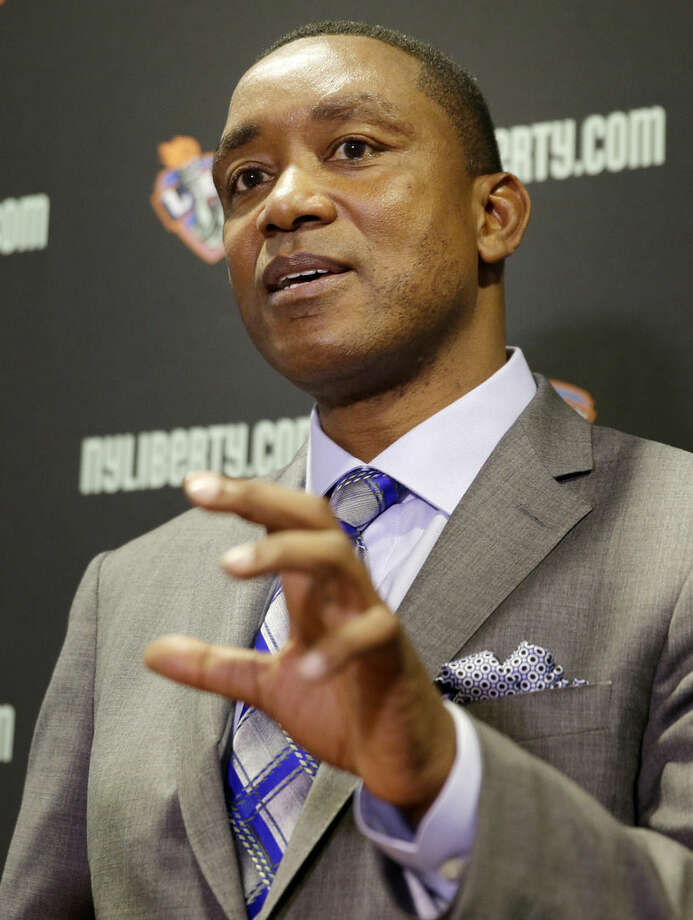 New York Liberty president Isiah Thomas speaks during a news conference in Tarrytown, N.Y., Thursday, May 21, 2015. Madison Square Garden chairman James Dolan has rehired Thomas - this time to run the WNBA's New York Liberty. (AP Photo/Seth Wenig)