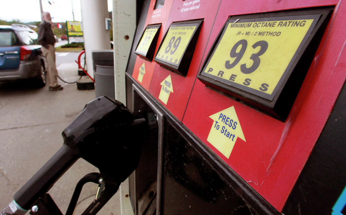This Friday, Sept. 27, 2013, photo, shows a gas pump in Montpelier, Vt. The national average price of gasoline has fallen throughout the month, sliding to $3.42 per gallon from $3.59 at the start of the month. The price is at its lowest level since Jan. 31, it?'s the lowest it?'s been at this time of year for three years, and it is expected to fall further in the coming days. (AP Photo/Toby Talbot)