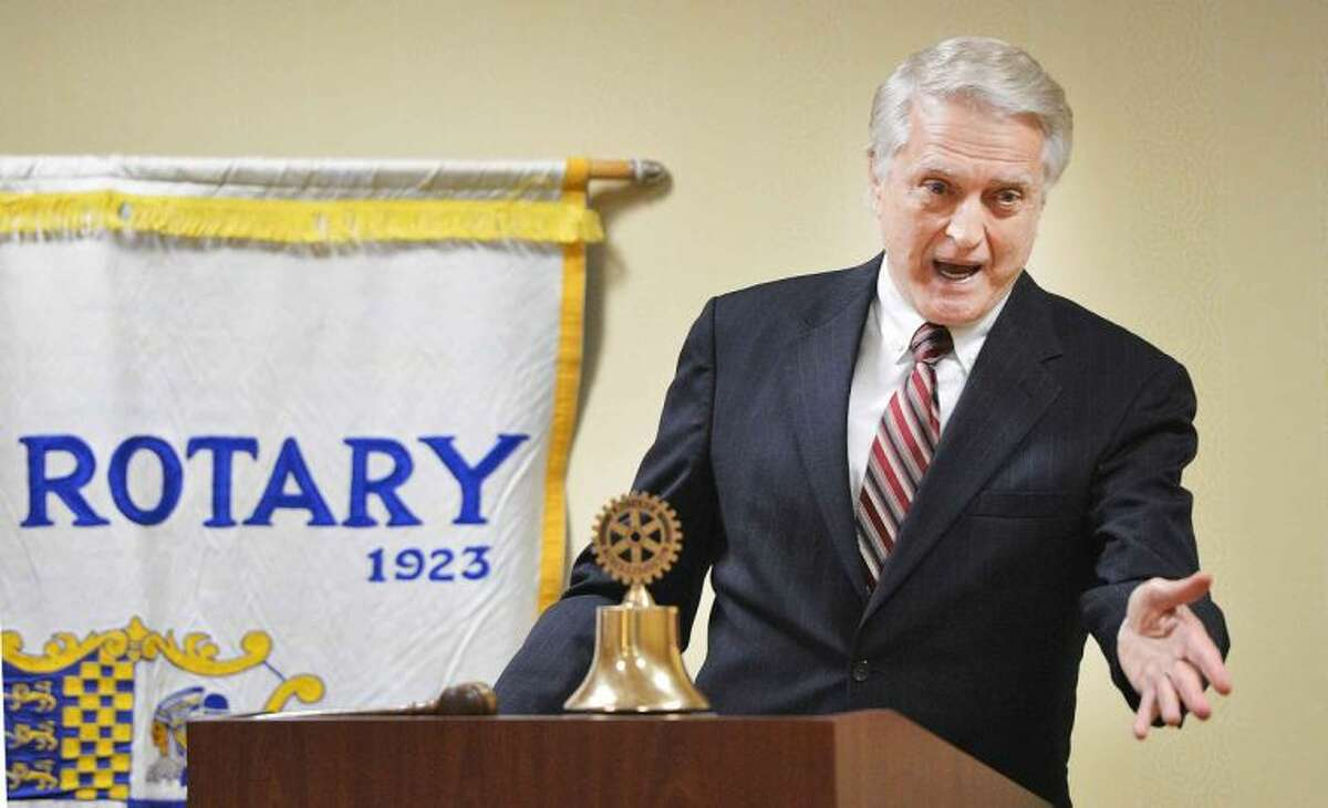 Former Onion News Network Anchorman Brandon Armstrong speaks to the Rotary Club of Stamford.