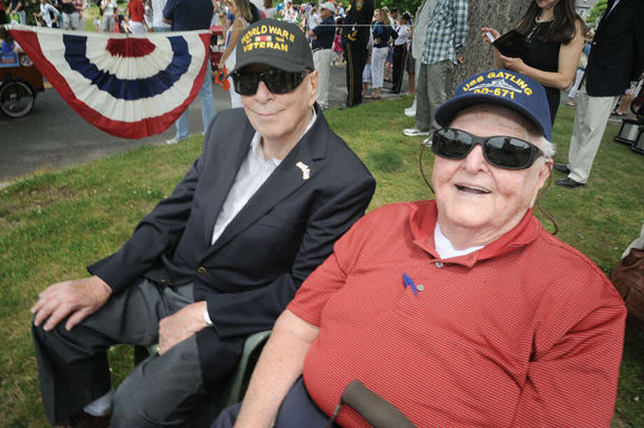 Owen Cottle WWII Army Veteran and Henry Palau Navy veteran 1953-1977 at the Memorial Day Parade in Rowayton on Sunday. Hour photo/Matthew Vinci