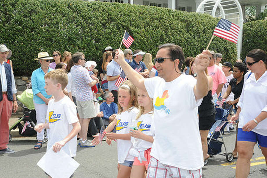 The Zeuss swim club at the Memorial Day Parade in Rowayton on Sunday. Hour photo/Matthew Vinci