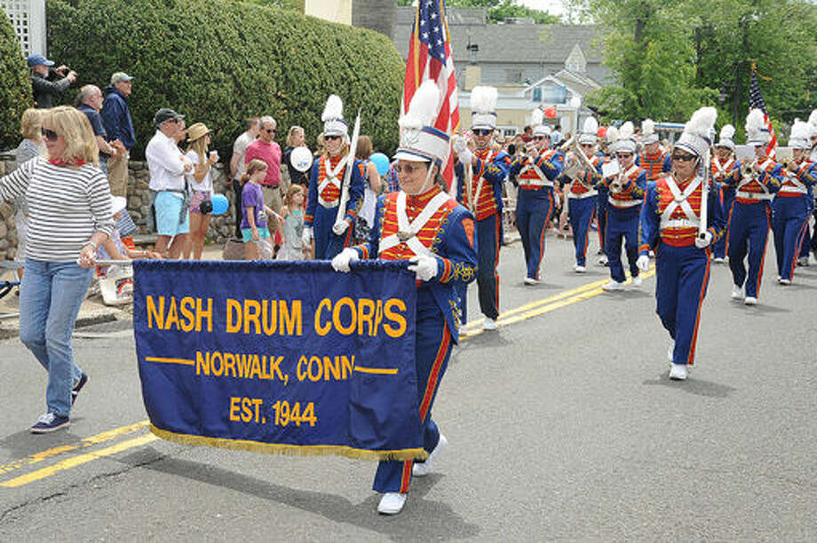 The Nash Drum Corps at the Memorial Day Parade in Rowayton on Sunday. Hour photo/Matthew Vinci