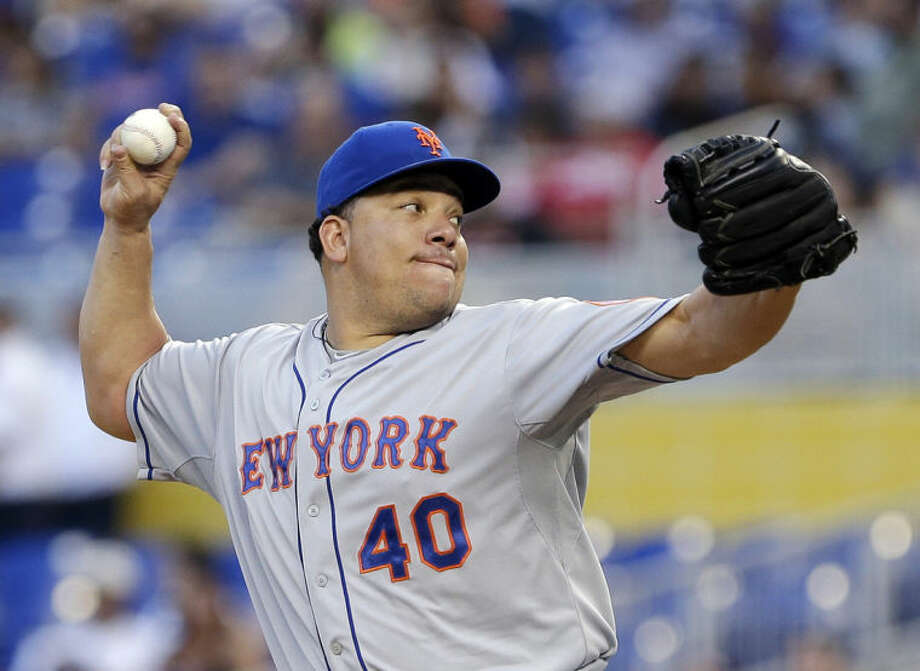 New York Mets' Bartolo Colon delivers a pitch during the first inning of a baseball game against the Miami Marlins, Tuesday, May 6, 2014, in Miami. (AP Photo/Wilfredo Lee)