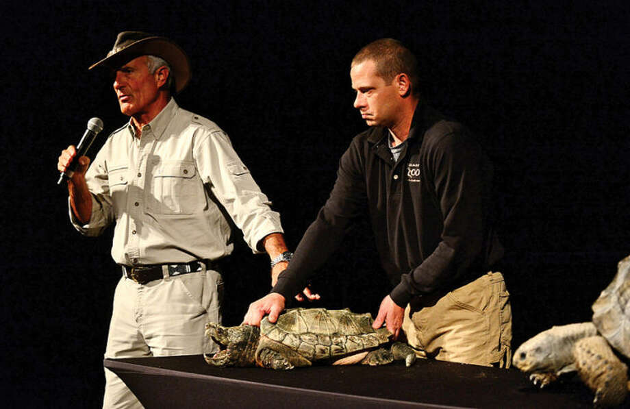 """Hour photo / Erik Trautmann """"Jungle"""" Jack Hanna presents a parade of wild animals including snapping turtles during his visit to The Maritime Aquarium Wednesday afternoon as part of The Maritime Aquarium's 2013-14 lecture series"""