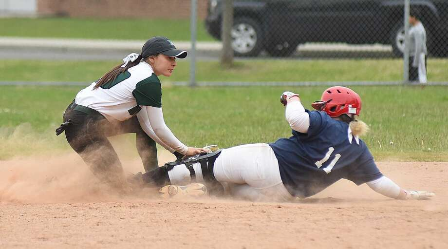 Norwalk High second baseman Jessica Otto tags out Brien McMahon's Danielle Bonis for the final out of the game in Norwalk's 21-3 win over the Senators on Tuesday.