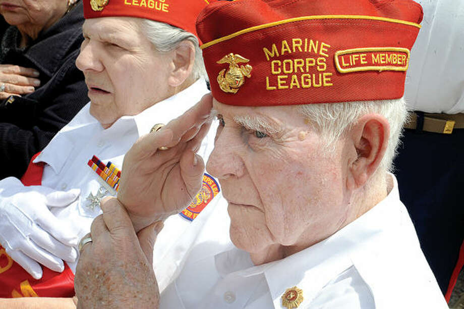 Gene Coyle WWII and Korean War Marine veteran Sunday at the Memorial Day Parade in Stamford on Sunday. Photo/Matthew Vinci