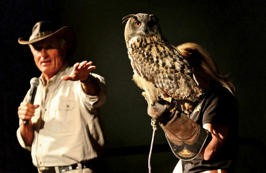 "Hour photo / Erik Trautmann ""Jungle"" Jack Hanna presents a parade of wild animals including a great horned owl during his visit to The Maritime Aquarium Wednesday afternoon as part of The Maritime Aquarium's 2013-14 lecture series"