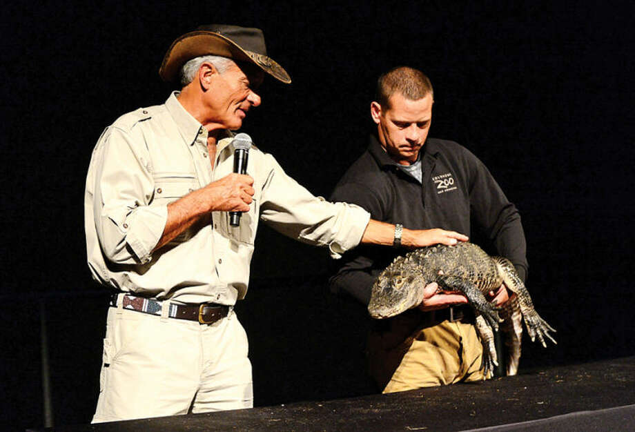 "Hour photo / Erik Trautmann ""Jungle"" Jack Hanna presents a parade of wild animals including an alligator during his visit to The Maritime Aquarium Wednesday afternoon as part of The Maritime Aquarium's 2013-14 lecture series"