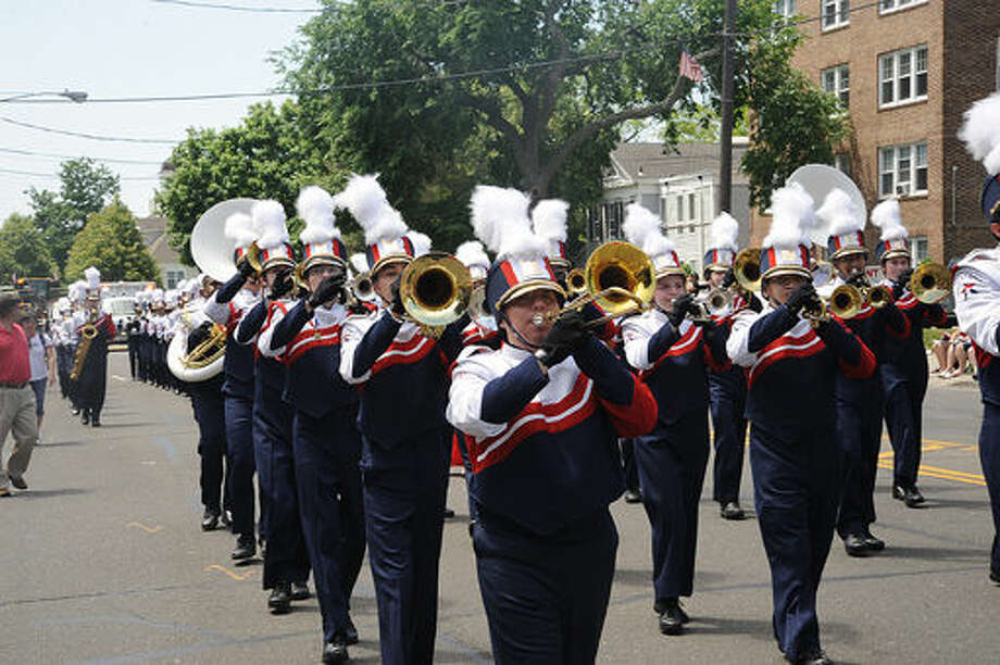 The Brien McMahon marching band at the 2015 Memorial Day Parade in Norwalk. Hour photo/Matthew Vinci