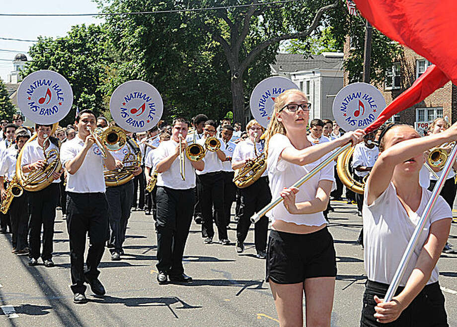 Nathan Hale Middle school band at the 2015 Memorial Day Parade in Norwalk. Hour photo/Matthew Vinci