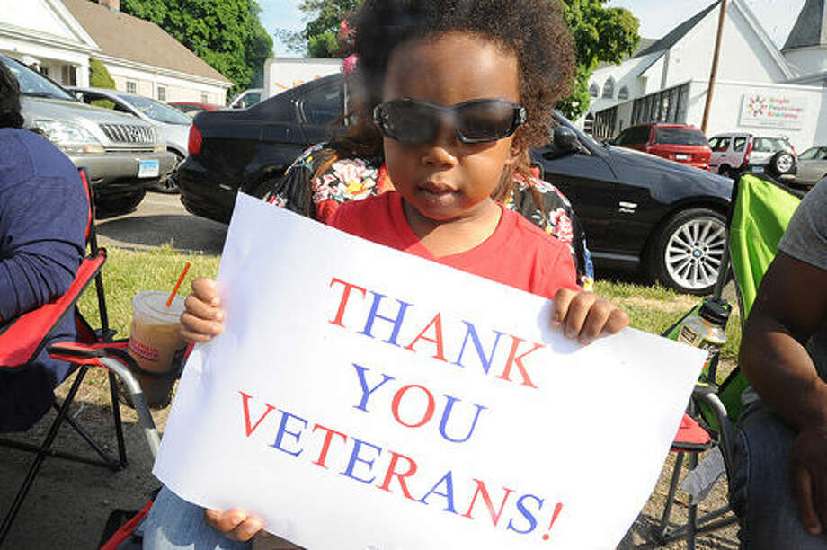 2 year old Kaiden O'Brien at the 2015 Memorial Day Parade in Norwalk. Hour photo/Matthew Vinci