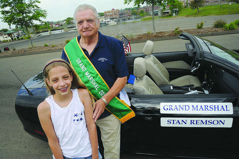 Army veteran Stan Remson is the Grand Marhal of the 2015 Memorial Day Parade with his granddaughter 11 year old Julie Remson. Hour photo/Matthew Vinci