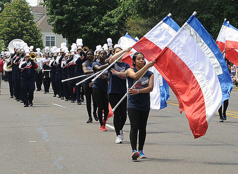 The Brien McMahon High School band at the 2015 Memorial Day Parade in Norwalk. Hour photo/Matthew Vinci