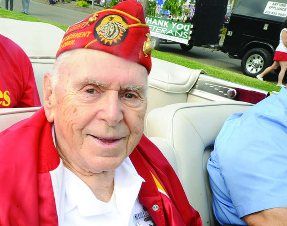 World War II Marine vetaeran Vito Ottaviano at the 2015 Memorial Day Parade in Norwalk. Hour photo/Matthew Vinci